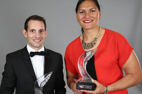 2014 World Athletes of the Year Renaud Lavillenie and Valerie Adams (Giancarlo Colombo / IAAF)