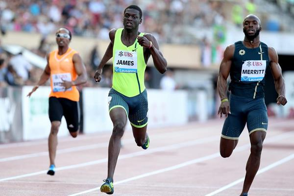 Kirani James winning the 400m at the 2014 IAAF Diamond League meeting in Lausanne (Giancarlo Colombo)