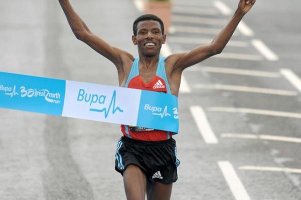 Haile Gebrselassie nabs a big victory in his first appearance at the Great North Run (Mark Shearman)