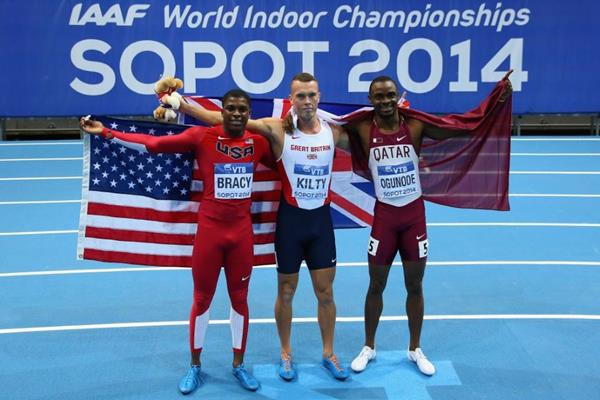 60m medallist Marvin Bracy, Richard Kilty and Femi Ogunode at the 2014 IAAF World Indoor Championships in Sopot (Getty Images)