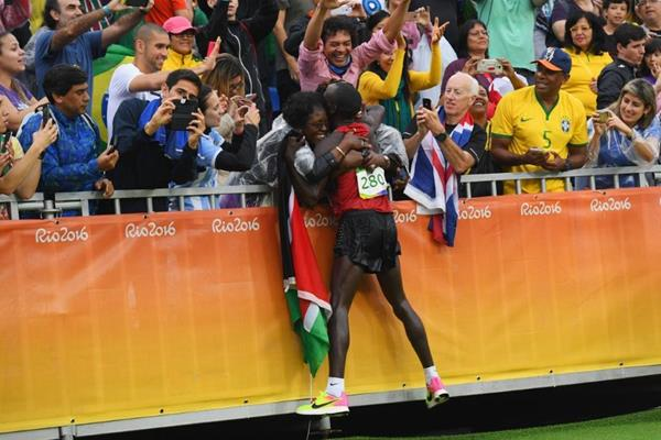Eliud Kipchoge after winning the men's marathon at the Rio 2016 Olympic Games (Getty Images)