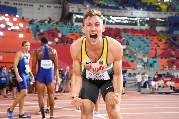 Niklas Kaul after securing the decathlon title at the IAAF World Athletics Championships Doha 2019 (Getty Images)