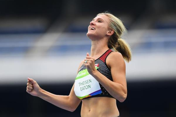 Brianne Theisen-Eaton in the heptathlon high jump at the Rio 2016 Olympic Games (Getty Images)