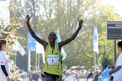 Philip Singoei celebrates winning the Eindhoven Marathon (Eindhoven)
