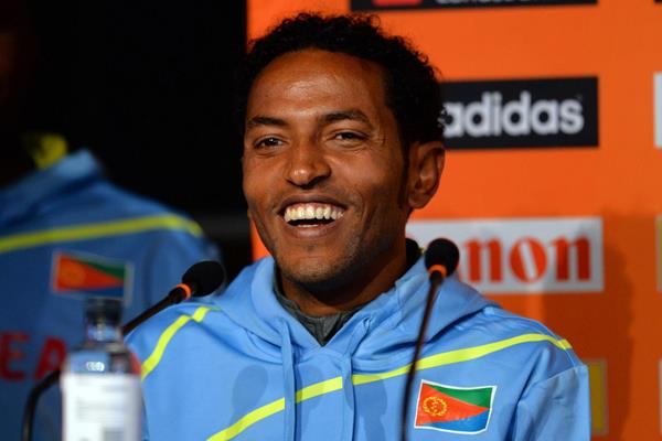 Zersenay Tadese at the press conference ahead of the IAAF/AL-Bank World Half Marathon Championships in Copenhagen (Getty Images)