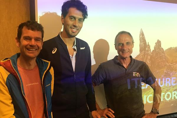 WMRA President Jonathan Wyatt, IAAF Road Running Manager Alessio Punzi and ITRA President Michel Poletti at a press conference in Chamonix announcing a new partnership with the IAAF (IAAF)
