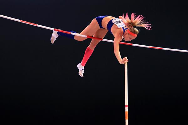Sandi Morris in the pole vault at the IAAF World Indoor Championships Birmingham 2018 (Getty Images)