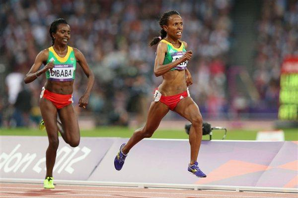 Meseret Defar of Ethiopia and Tirunesh Dibaba of Ethiopia approach the finish line in the Women's 5000m Final on Day 14 of the London 2012 Olympic Games on 10 August 2012 (Getty Images)