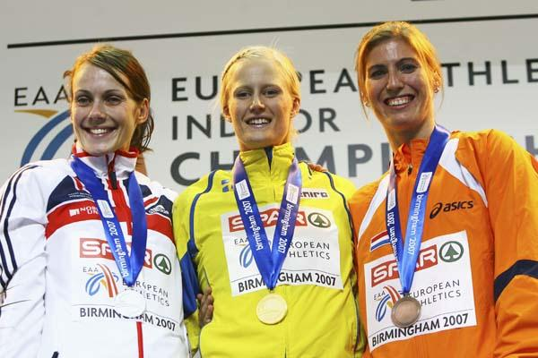 The Pentathlon podium: silver medallist Kelly Sotherton, champion Carolina Kluft, and bronze medallist Karin Ruckshuhl (Getty Images)
