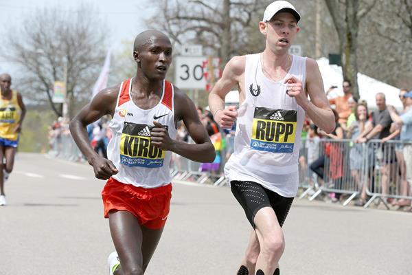 Geoffrey Kirui and Galen Rupp in Boston (Victah Sailer)