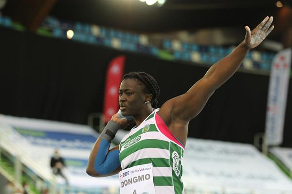 Auriol Dongmo, winner of the shot put at the World Athletics Indoor Tour meeting in Lievin (Jean-Pierre Durand)
