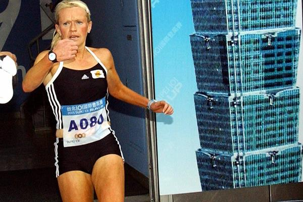 Melissa Moon at the 2005 Taipei 101 Run-up (Getty Images)