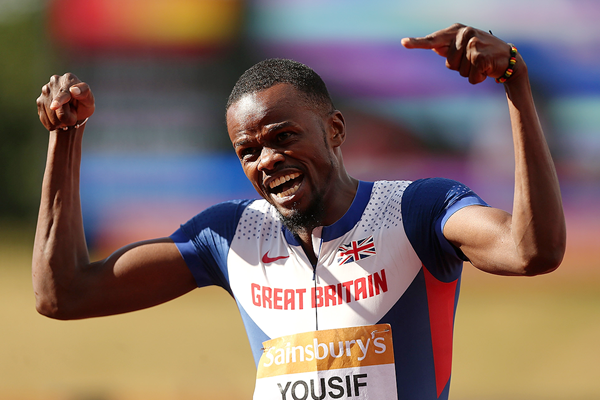 Rabah Yousif celebrates his 400m victory at the British Championships (Getty Images)