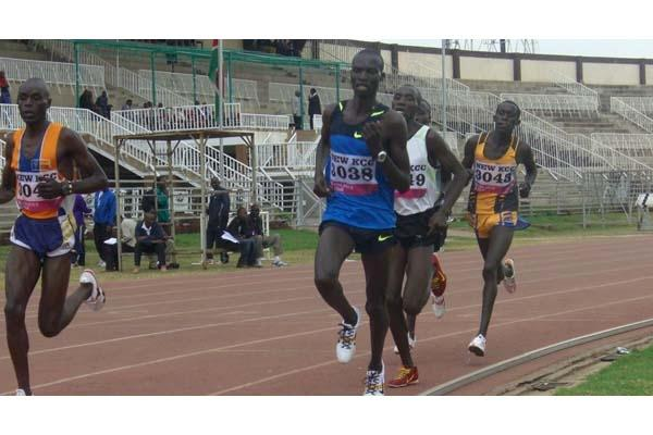 Josphat Bett, on the extreme left, on his way to winning the World Jnr Trials 10,000m in Nairobi (Peter Njenga)