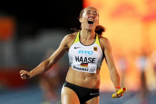 Rebekka Haase celebrates after anchoring Germany to gold in the women's 4x100m at the IAAF/BTC World Relays Bahamas 2017  (Getty Images)