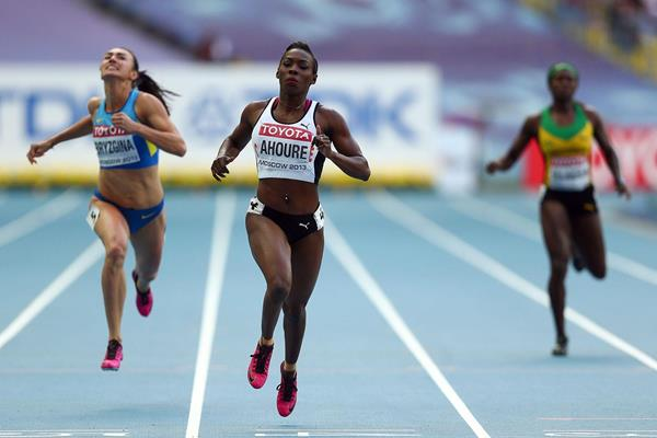 Murielle Ahoure in the womens 200m at the IAAF World Championships Moscow 2013 (Getty Images)