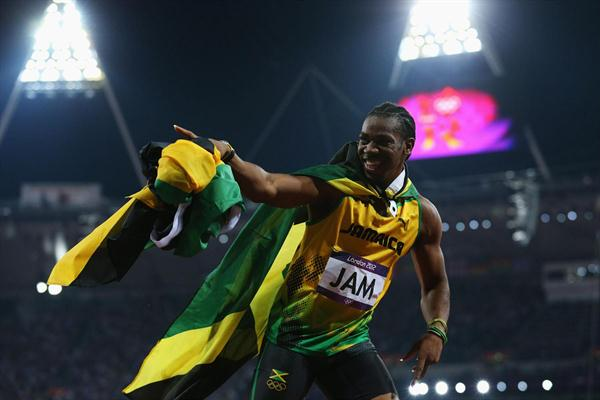 Yohan Blake of Jamaica celebrates winning gold and setting a new world record of 36.84 during the Men's 4 x 100m Relay Final of the London 2012 Olympic Games on 11 August 2012 (Getty Images)