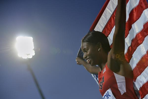 Candace Hill celebrates winning the women's 100m title at the IAAF World U20 Championships Bydgoszcz 2016 (Getty Images)