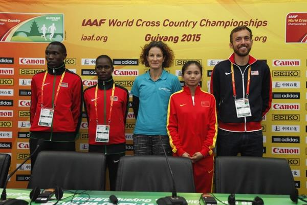 Athletes' press conference, with Sonia O'Sullivan - IAAF World Cross Country Championships, Guiyang 2015 (Getty Images)