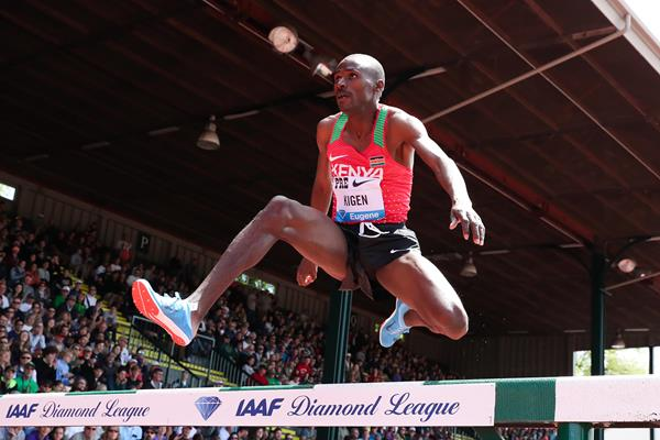 Benjamin Kigen, surprise winner of the steeplechase at the IAAF Diamond League meeting in Eugene (Victah Sailer)