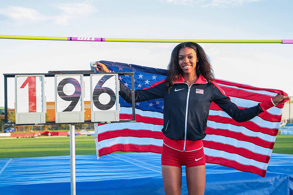 Vashti Cunningham after equalling the world youth high jump best of 1.96m at the Pan American Junior Championships (Oscar Muñoz Badilla)