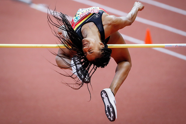 Nafissatou Thiam in the pentathlon high jump at the European Indoor Championships in Belgrade (Getty Images)