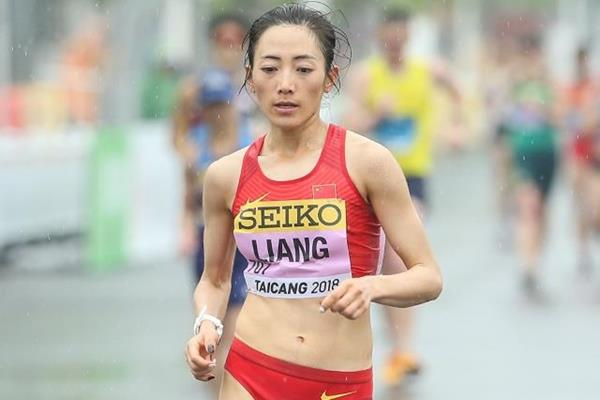Liang Rui in the women's 50km race walk at the IAAF World Race Walking Team Championships Taicang 2018 (Getty Images)