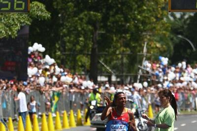 Zersenay Tadese crosses the line in 59:46 - almost two minutes ahead of the opposition (Getty Images)