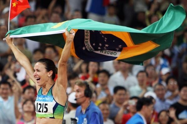 Maurren Higa Maggi of Brazil celebrates her Olympic long jump gold (Getty Images)