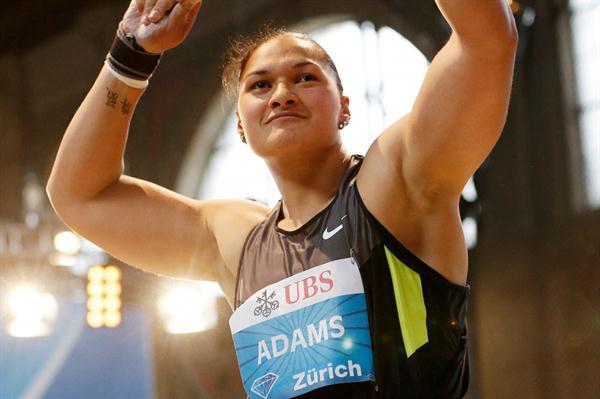 Valerie Adams celebrates her victory in Zurich (Gladys Chai van der Laage)