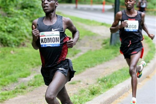 Leonard Patrick Komon and Micah Kogo in Central Park (Courtesy New York Road Runners)