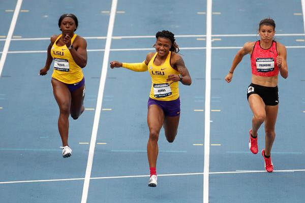 Aleia Hobbs takes the US 100m title in Des Moines (Getty Images)
