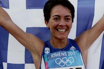 Athanasia Tsoumeleka of Greece celebrates winning gold in the women's 20km walk (Getty Images)