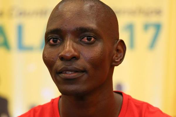 Asbel Kiprop at the IAAF/LOC press conference in Kampala (Roger Sedres)