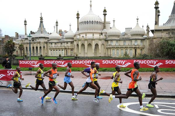Leaders in the 2013 Brighton Marathon with winner Dominic Kimwetcih Kangor at the back (Organisers)