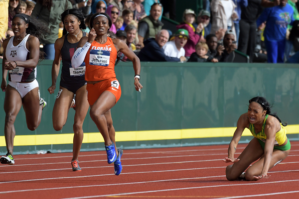 Kyra Jefferson wins the 200m at the NCAA Championships (Kirby Lee)