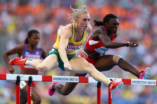 Sally Pearson and Dawn Harper in the womens 100m Hurdles at the IAAF World Athletics Championships Moscow 2013 (Getty Images)