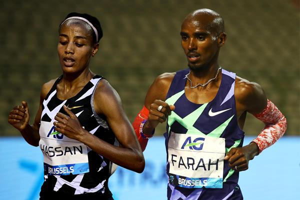 Sifan Hassan and Mo Farah in action in the one-hour race at the Diamond League meeting in Brussels (AFP / Getty Images)