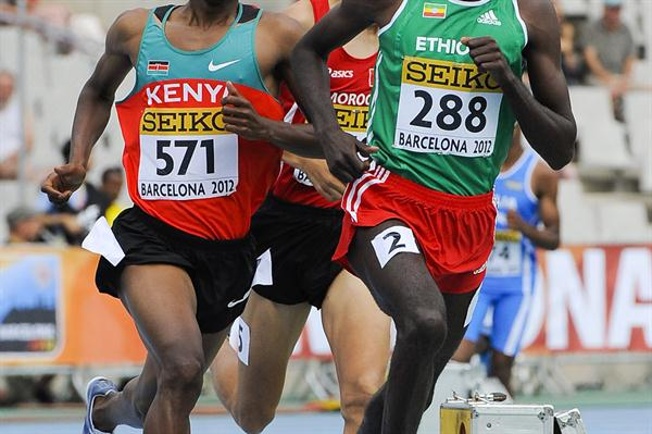 Teshome Dirirsa of Ethiopia competes during the Men's 1500 metre qualification heat on the day one of the 14th IAAF World Junior Championships in Barcelona on 10 July 2012 (Getty Images)