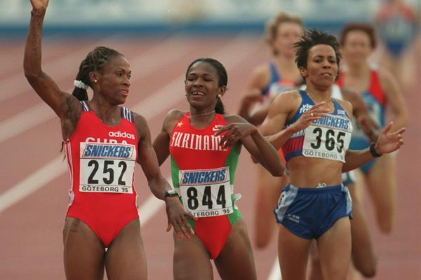 Ana Quirot wins the 1995 world 800m title (Getty Images)