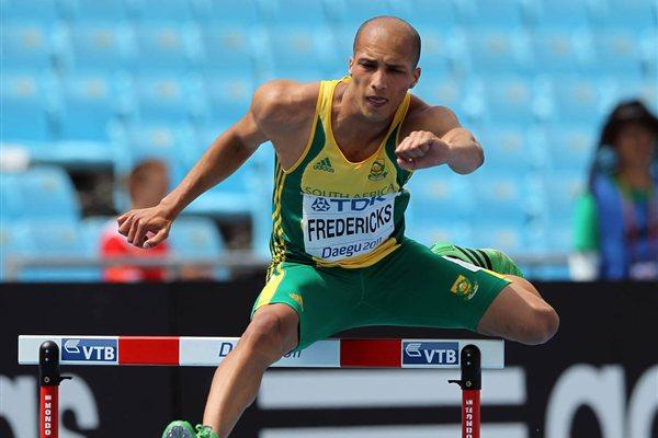 Cornel Fredericks of South Africa competes in the men's 400 metres hurdles heats during day three  (Getty Images)