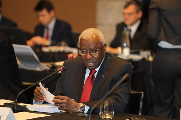 IAAF President Lamine Diack at the IAAF Council meeting in Barcelona (IAAF)