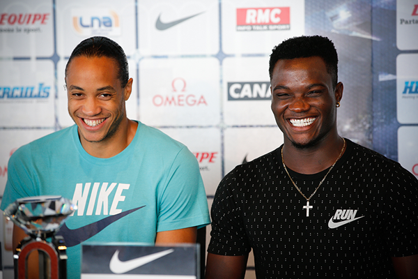 Pascal Martinot-Lagarde and Omar McLeod at the press conference for the IAAF Diamond League meeting in Monaco (Philippe Fitte)