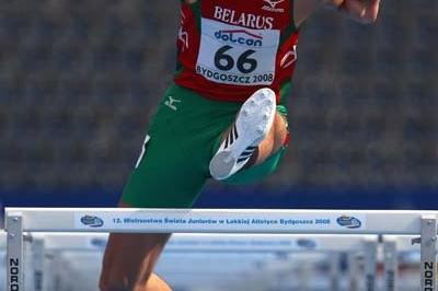 Eduard Mihan of Belarus in the 110m Hurdles discipline of the Men's Decathlon (Getty Images)