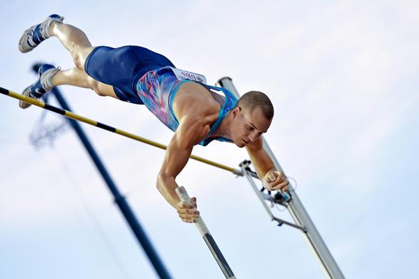 Pole vault winner Sam Kendricks at the IAAF Diamond League meeting in Lausanne (Hasse Sjogren)