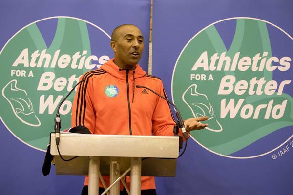 Colin Jackson promotes Athletics for a Better World's involvement in the IAAF World Half Marathon Championships (IAAF/Cardiff University World Half Marathon Championships Cardiff 2016 LOC)