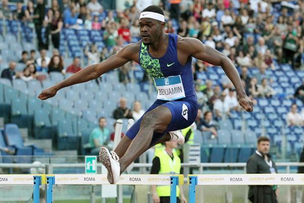 Rai Benjamin on his way to winning the 400m hurdles at the IAAF Diamond League meeting in Rome (Jean-Pierre Durand)
