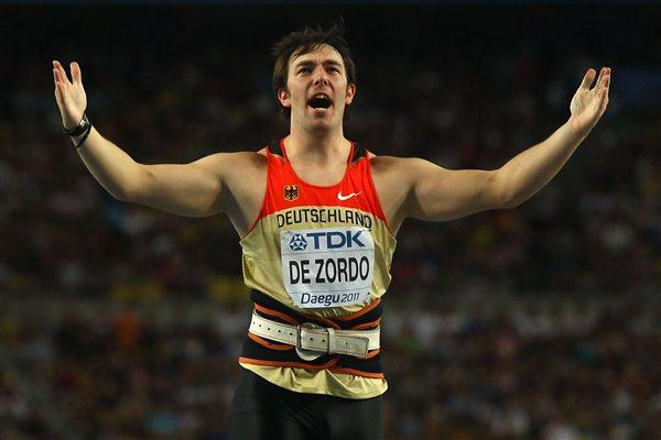 Matthias de Zordo of Germany celebrates during the men's javelin throw final  (Getty Images)