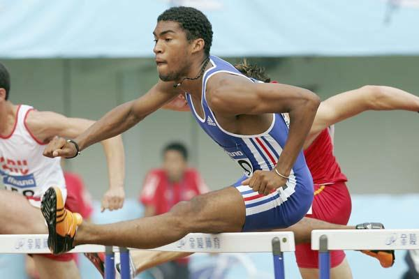 Samuel Coco-Viloin of France in the heats of the 110m Hurdles (Getty Images)