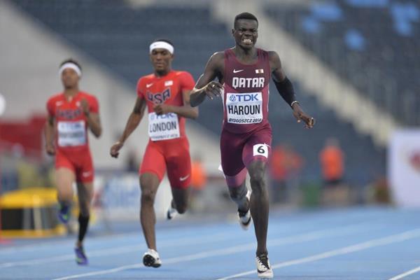 Abdalelah Haroun wins the 400m at the IAAF World U20 Championships Bydgoszcz 2016 (Getty Images)